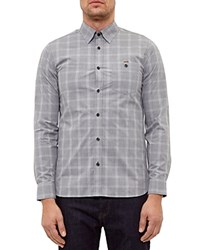 Ted Baker Marl Checked Regular Fit Button Down Shirt Gray