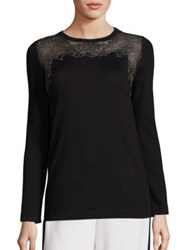 Alberta Ferretti Lace Yoke Blouse Black