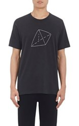 Rag And Bone Men's Triangle Embroidered Cotton T Shirt Black
