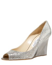 Jimmy Choo Baxen Glitter Peep Toe Wedge Pump Silver