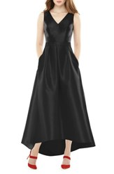 Alfred Sung Women's High Low Sateen Twill Gown Black