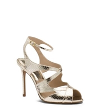 Michael Kors Cordelia Leather And Snakeskin Sandal Sunglow