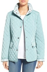 Women's Gallery Plaid Trim Quilted Barn Jacket Trellis Blue