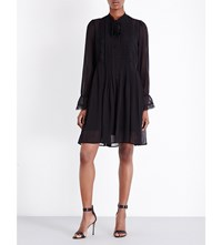 The Kooples Lace Silk Chiffon Dress Black