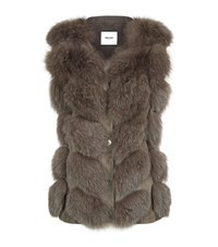 Max And Moi Knitted Fox Fur Panel Gilet Beige
