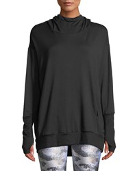 Terez Hooded Cowl Neck Sweatshirt Black Pattern