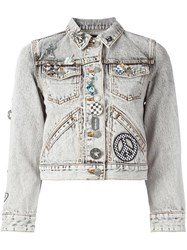 Marc Jacobs Embellished Shrunken Denim Jacket Black