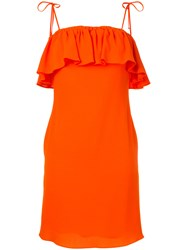 Sonia Rykiel By Ruffled Fitted Dress Women Triacetate Polyester Xs Yellow Orange