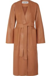 Loewe Belted Leather Coat Tan