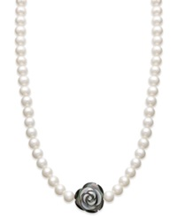 Macy's Sterling Silver Necklace Black Mother Of Pearl 20Mm And Cultured Freshwater Pearl 7Mm Strand