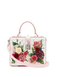 Dolce And Gabbana Embellished Floral Print Leather Box Bag Pink White