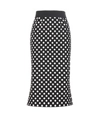 Dolce And Gabbana Polka Dot Stretch Cotton Twill Skirt Black
