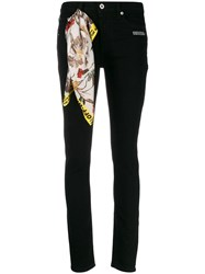 Off White Skinny Leg Jeans Black