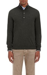 Barneys New York Men's Wool Mock Turtleneck Sweater Dark Green