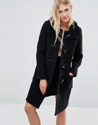 Gloverall Long Slim Duffle Coat In Charcoal Charcoal Grey