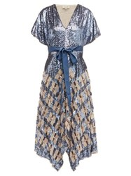 Temperley London Akiko Sequinned Check Tulle Gown Blue Multi