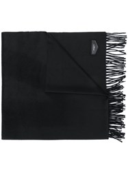 Givenchy Logo Plaque Tassel Scarf Black