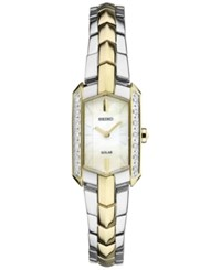 Seiko Women's Tressia Solar Diamond Accent Two Tone Stainless Steel Bracelet Watch 15Mm Sup358 Two Tone