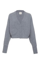 Le Kasha Monaco Cropped Ribbed Cardigan Grey
