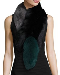 Charlotte Simone Popsicle Fox Fur Colorblock Scarf Black Green Black Green