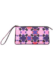 Emilio Pucci Geometric Print Clutch Pink And Purple