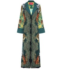 F.R.S For Restless Sleepers Notte Printed Silk Shirt Dress Green