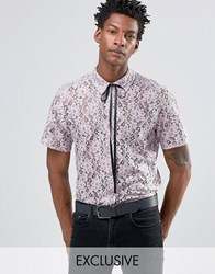 Reclaimed Vintage Lace Shirt With Neck Tie In Reg Fit Purple