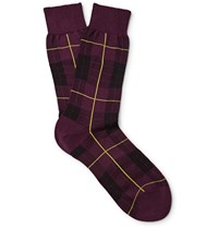 Alexander Mcqueen Checked Cotton Blend Socks Burgundy