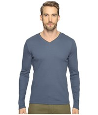 Calvin Klein Long Sleeve Rib V Neck T Shirt Nook Men's Clothing Blue