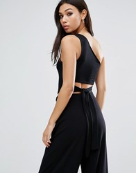 Asos One Shoulder Top With Open Back Bow Detail Black