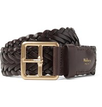 Mulberry 4Cm Brown Woven Leather Belt Brown