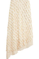 Tibi Asymmetric Metallic Fil Coupe Silk Blend Midi Skirt Off White