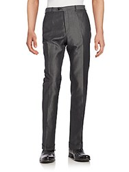 Brioni Virgin Wool And Linen Trousers Black Grey