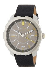 Diesel Men's Machinus Leather Strap Watch Stainless And Black