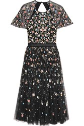 Needle And Thread Starburst Open Back Embellished Tulle Midi Dress Black