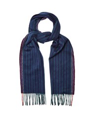 Paul Smith Striped Wool Blend Scarf Navy Multi