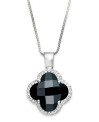 Macy's Sterling Silver Black Onyx 4 5 8 Ct. T.W. And White Topaz 1 3 Ct. T.W. Clover Pendant