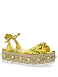Gucci Barbette Metallic Leather Studded Platform Sandals Gold