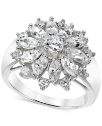 B. Brilliant Cubic Zirconia Flower Cluster Ring In Sterling Silver