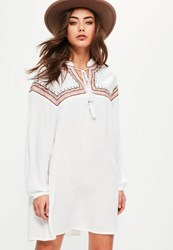 Missguided Petite White Oversized Embroidered Yoke Swing Dress
