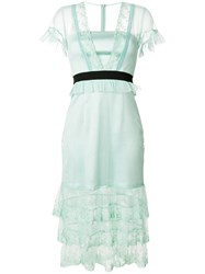 Three Floor Summer Effect Tiered Dress Polyester Green