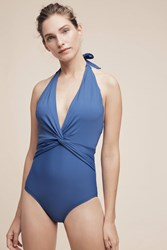 Anthropologie Twist Front Halter One Piece Blue