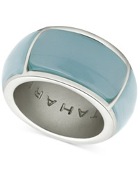 T Tahari Silver Tone Blue Band Ring Mint
