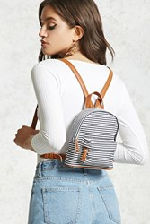 Forever 21 Striped Canvas Mini Backpack Navy Multi
