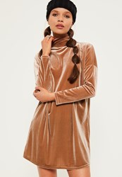 Missguided Petite Exclusive Brown Velvet High Neck Oversized Dress