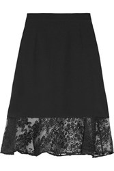 Carven Embroidered Organza Paneled Crepe Skirt Black