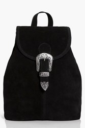 Boohoo Boutique Suede Buckle Detail Backpack Black