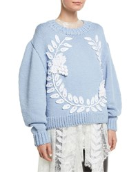 Oscar De La Renta Grape Garland Crewneck Wool Cashmere Hand Knit Sweater Blue White