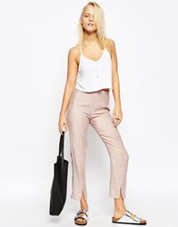 Asos Linen Cigarette Trousers With Front Splits Pink