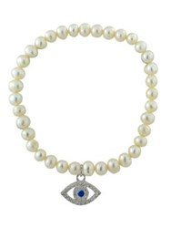 Lord And Taylor 6Mm Freshwater Pearl Sterling Silver Evil Eye Charm Stretch Bracelet